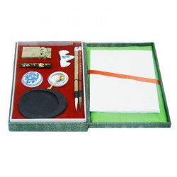 Coffret brocart calligraphie chinoise petit